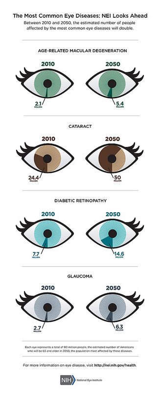 Between 2010 and 2050, the estimated number of people affected by the most common eye diseases will double.