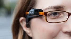 Orcam low vision device on glasses