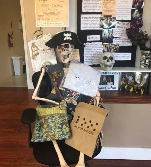 skeleton ready for shopping